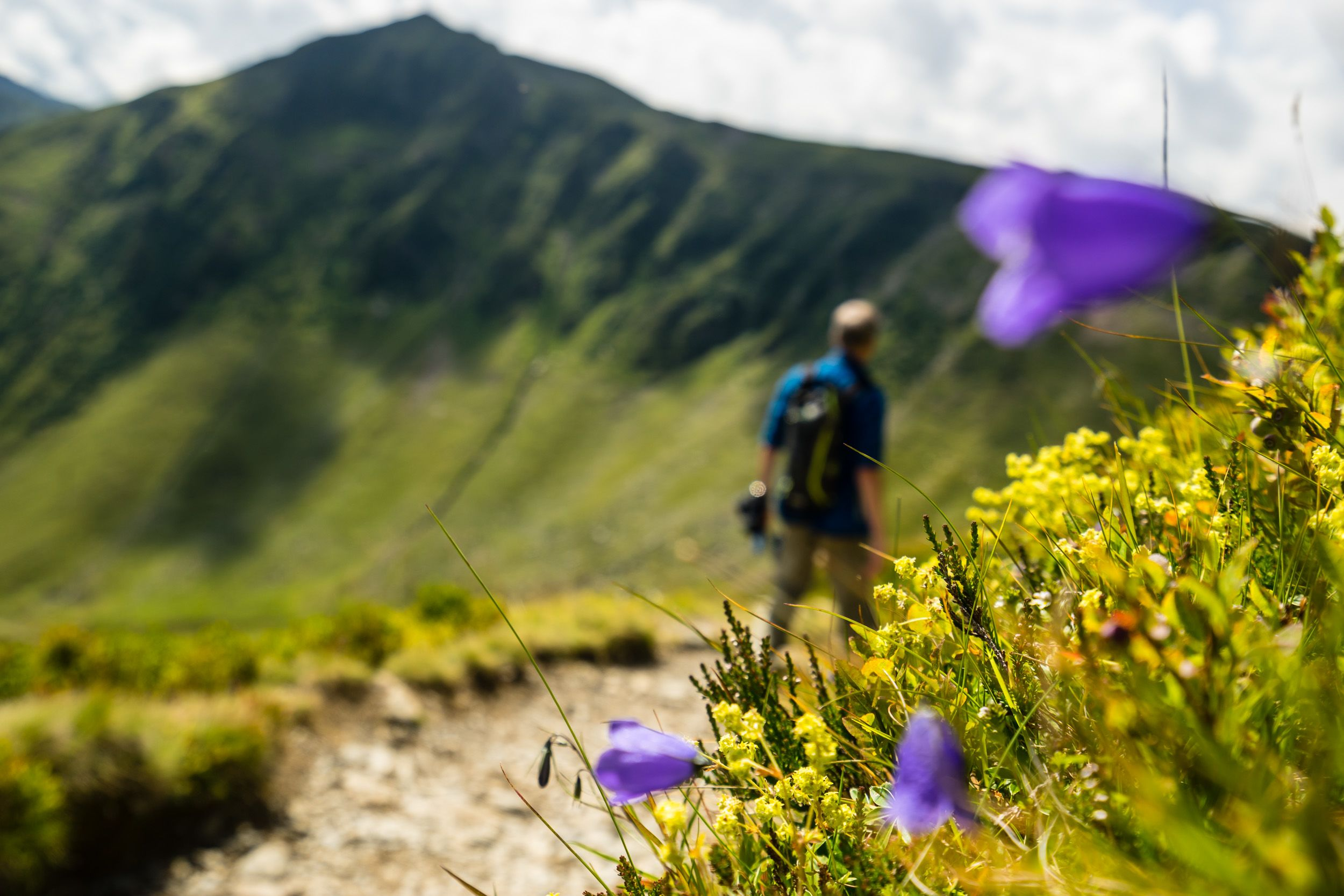 Ein Wanderer mit Rucksack am Zwölferkogel