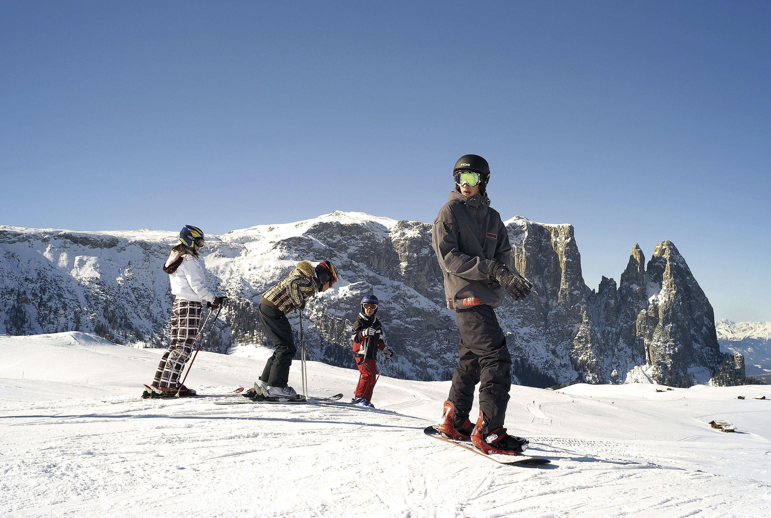 Skifahren auf der Seiser Alm © IDM Südtirol / Clemens Zahn