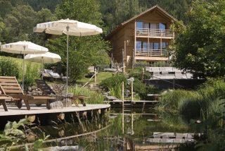 Italien Suetirol Trentino Alto Adige Eisaktal Luesen Wander- und Naturhotel Luesnerhof Schwimmteich