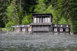 Historische Wasserscheiben-Schießanlage am Prebersee